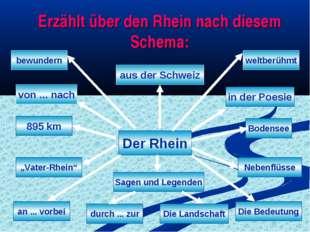 Erzählt über den Rhein nach diesem Schema: Der Rhein von ... nach an ... vorb