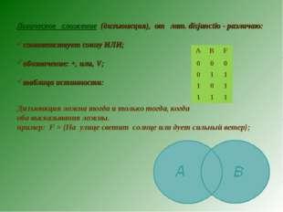 Логическое сложение (дизъюнкция), от лат. disjunctio - различаю: соответствуе