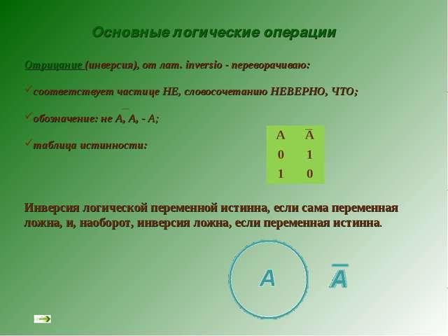 Основные логические операции Отрицание (инверсия), от лат. inversio - перевор...