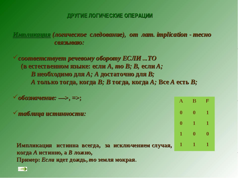 ДРУГИЕ ЛОГИЧЕСКИЕ ОПЕРАЦИИ Импликация (логическое следование), от лат. implic...