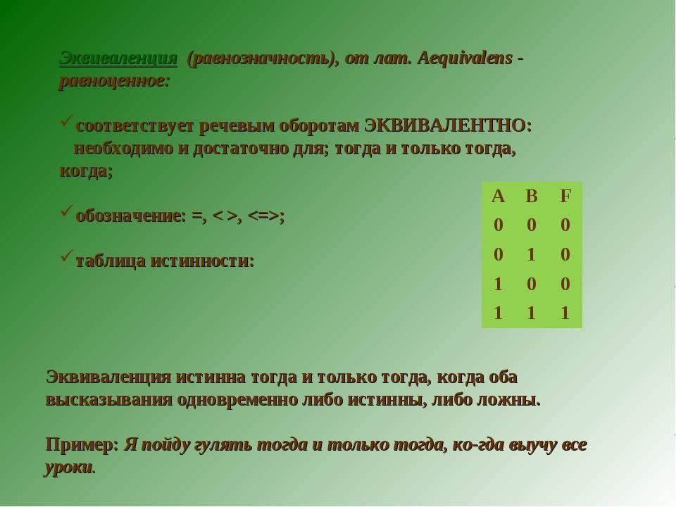 Эквиваленция (равнозначность), от лат. Aequivalens - равноценное: соответству...