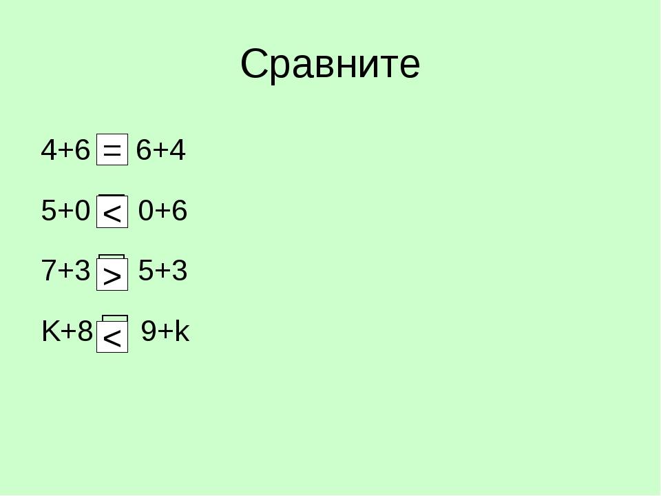 Сравните 4+6 6+4 5+0 □ 0+6 7+3 □ 5+3 K+8 □ 9+k = < > <