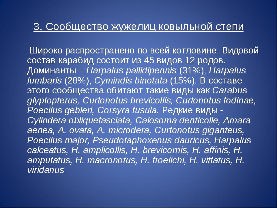 3. Сообщество жужелиц ковыльной степи Широко распространено по всей котловине...