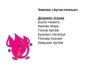 Экипаж «Артистичные» Доценко Алина Болог Никита Акопян Мэри Попов Артём Букла