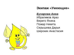 Экипаж «Умеющие» Бухарова Анна Ибрагимов Араз Вериго Янина Пожар Никита Серыш