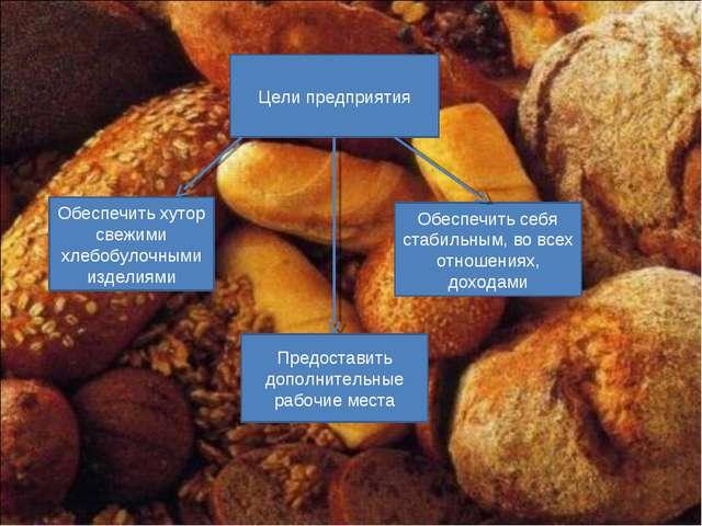 Цели предприятия Обеспечить хутор свежими хлебобулочными изделиями Обеспечить...