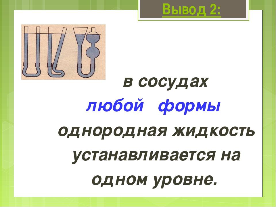 Вывод 2: в сосудах любой формы однородная жидкость устанавливается на одном у...