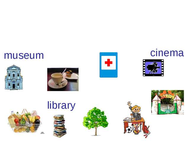 museum cinema library school shop zoo cafe hospital park Excuse me. How can I...