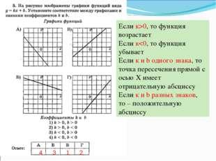 Если к>0, то функция возрастает Если к