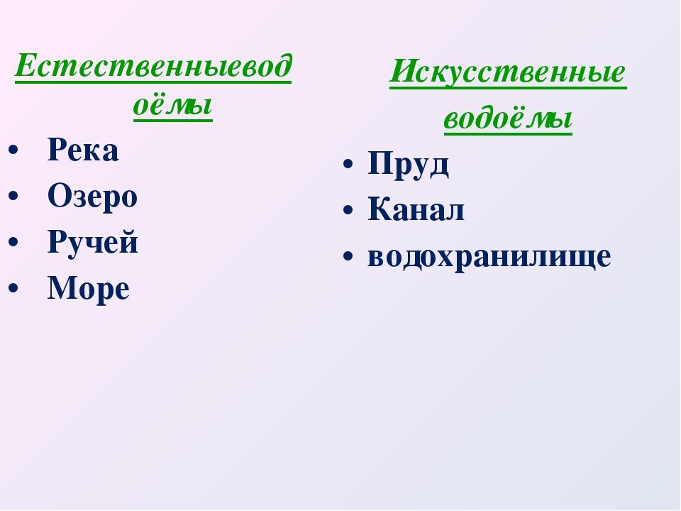 Естественныеводоёмы Река Озеро Ручей Море Искусственные водоёмы Пруд Канал во...