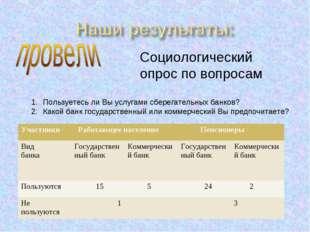 Социологический опрос по вопросам Пользуетесь ли Вы услугами сберегательных б