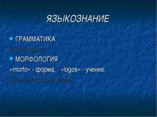 ЯЗЫКОЗНАНИЕ ГРАММАТИКА (строй языка) МОРФОЛОГИЯ «morfo» - форма, «logos» - уч