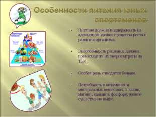 Питание должно поддерживать на адекватном уровне процессы роста и развития ор