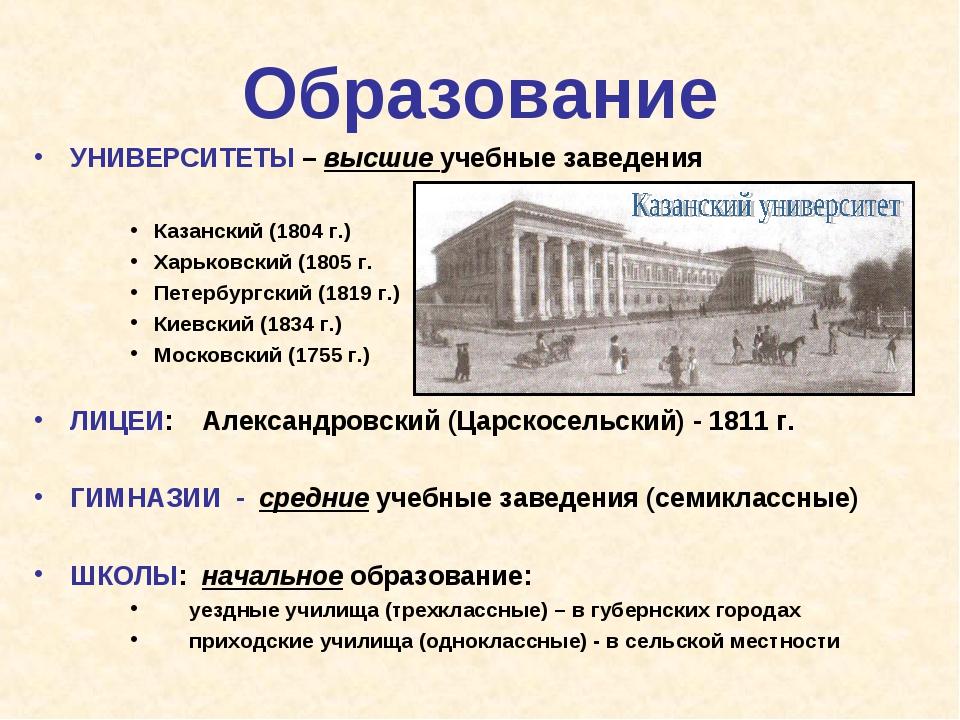 Образование УНИВЕРСИТЕТЫ – высшие учебные заведения Казанский (1804 г.) Харьк...