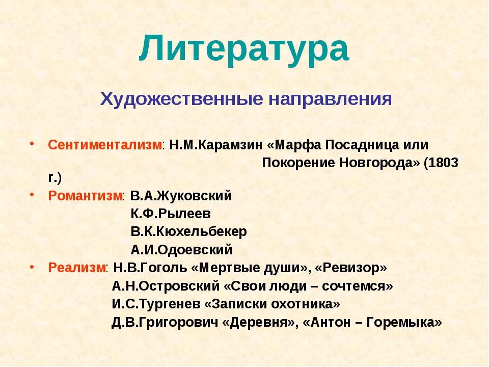 Литература Художественные направления Сентиментализм: Н.М.Карамзин «Марфа Пос...