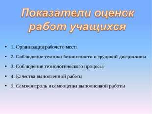1. Организация рабочего места 2. Соблюдение техники безопасности и трудовой д