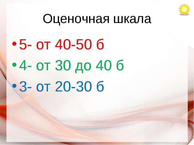 Оценочная шкала 5- от 40-50 б 4- от 30 до 40 б 3- от 20-30 б