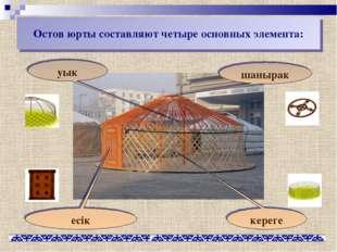 Остов юрты составляют четыре основных элемента: уык еciк шанырак кереге