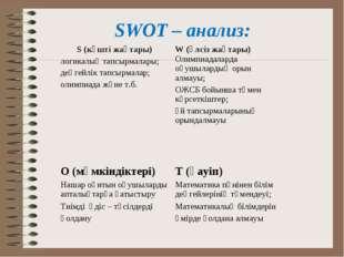SWOT – анализ: S (күшті жақтары) логикалық тапсырмалары; деңгейлік тапсырмала