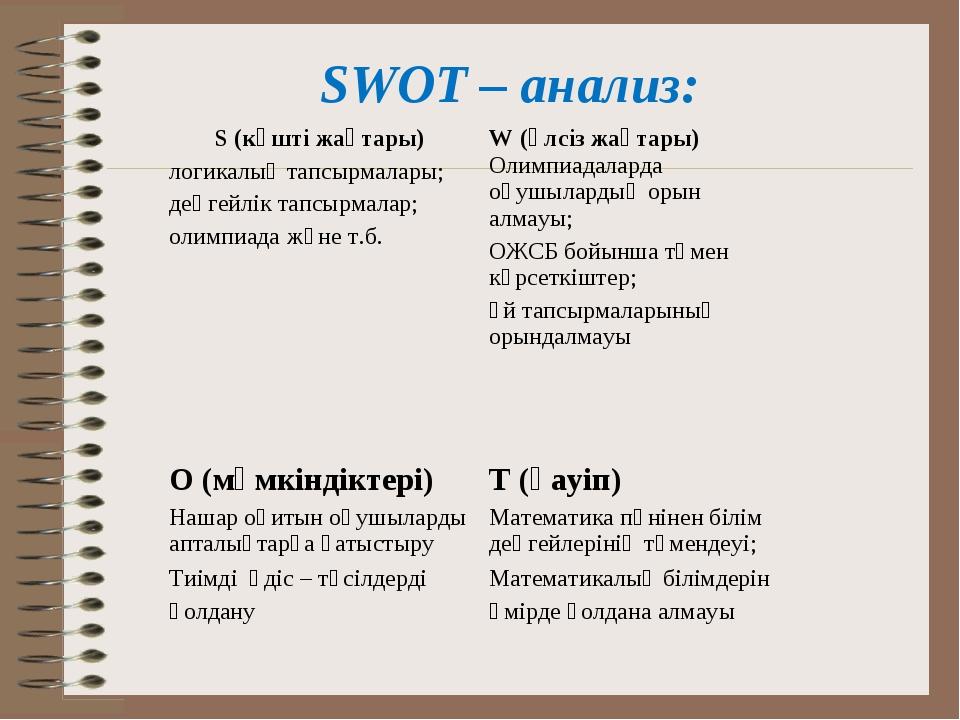 SWOT – анализ: S (күшті жақтары) логикалық тапсырмалары; деңгейлік тапсырмала...