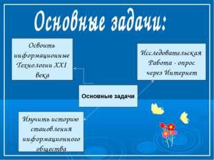 Основные задачи Исследовательская Работа - опрос через Интернет Освоить инфор