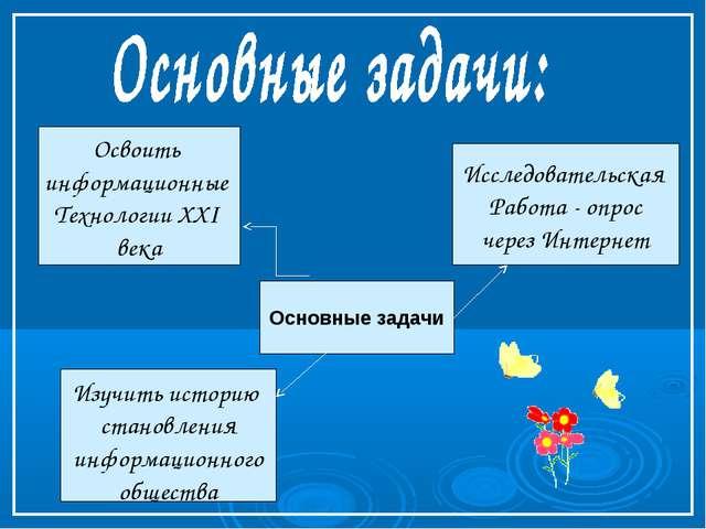 Основные задачи Исследовательская Работа - опрос через Интернет Освоить инфор...