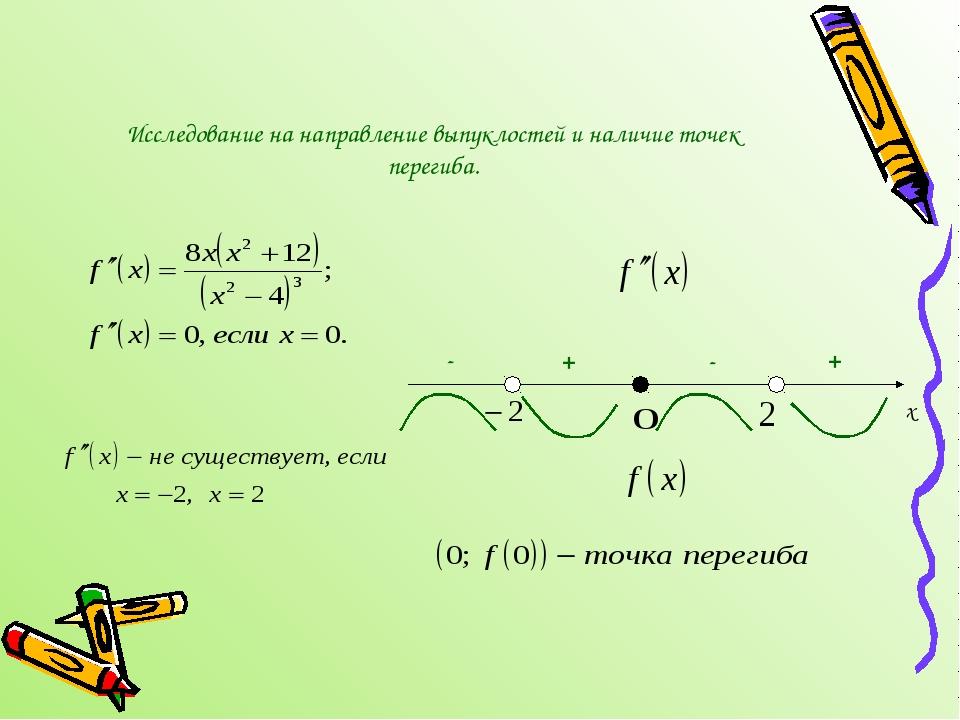 Исследование на направление выпуклостей и наличие точек перегиба. х + - + -