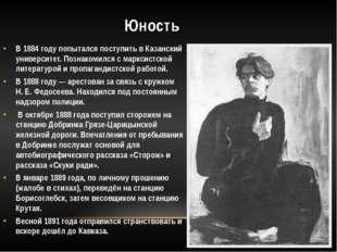 Юность В 1884 году попытался поступить в Казанский университет. Познакомился