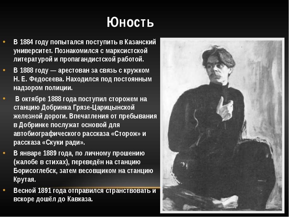 Юность В 1884 году попытался поступить в Казанский университет. Познакомился...