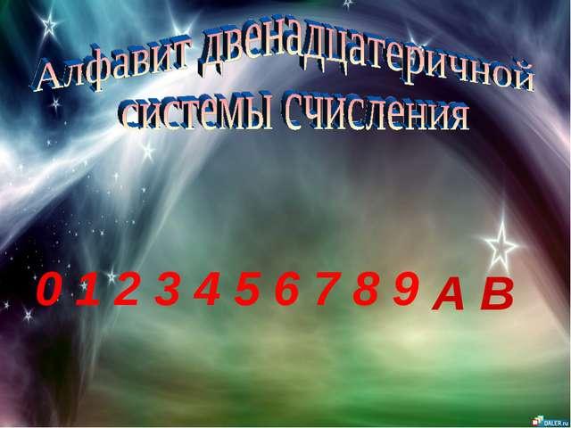 0 1 2 3 4 5 6 7 8 9 A B