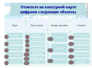 Отметьте на контурной карте цифрами следующие объекты 1 2 3 4 5 10 9 8 7 6 1
