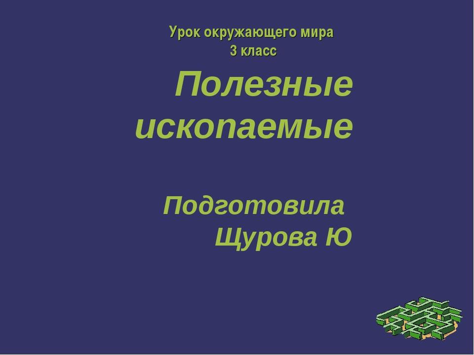 Полезные ископаемые Подготовила Щурова Ю Урок окружающего мира 3 класс