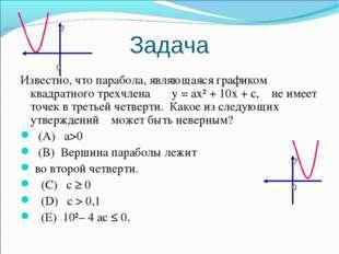 Задача Известно, что парабола, являющаяся графиком квадратного трехчлена у =