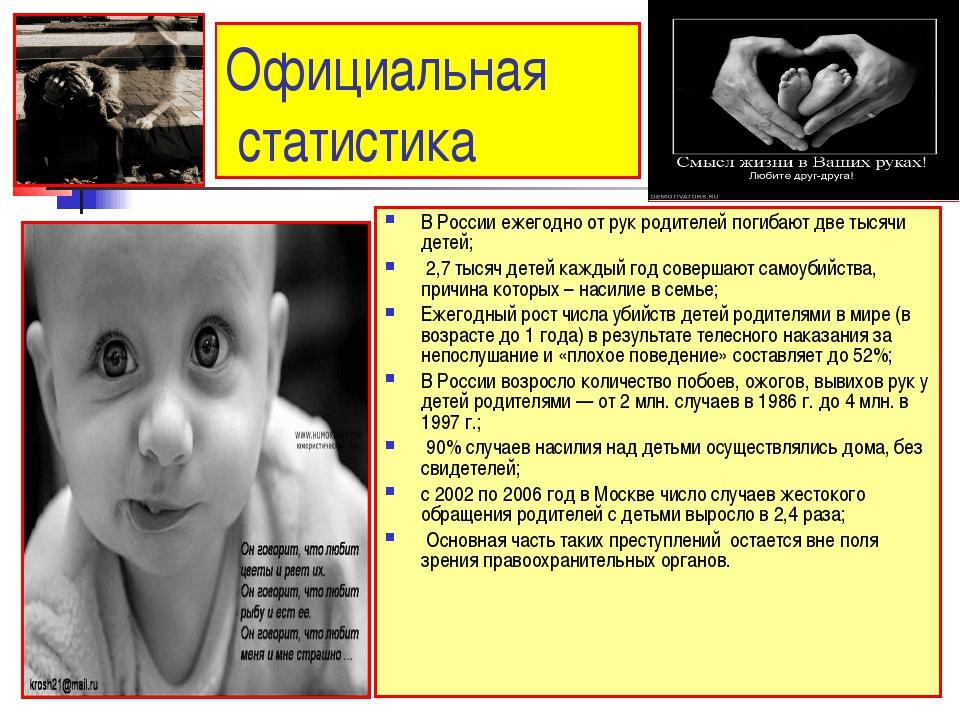 Дети которые умерли от рук своих родителей