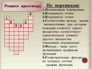 Решите кроссворд По вертикали: Независимая переменная. Координата точки Коор