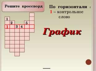Решите кроссворд 6 По горизонтали : 1 – контрольное слово График