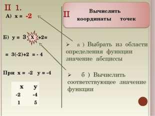 Вычислить координаты точек Б) у = 3 +2= Х А) х = -2 = 3(-2)+2 = - 4 При х = -