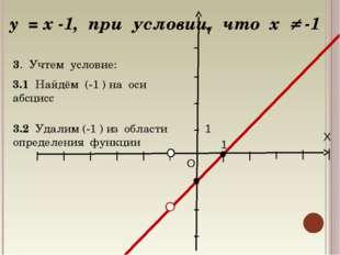 X Y O 1 1 y = x -1, при условии, что х  -1 3. Учтем условие: 3.1 Найдём (-1