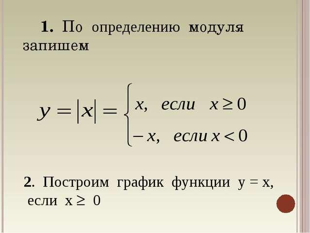 1. По определению модуля запишем 2. Построим график функции у = х, если х  0