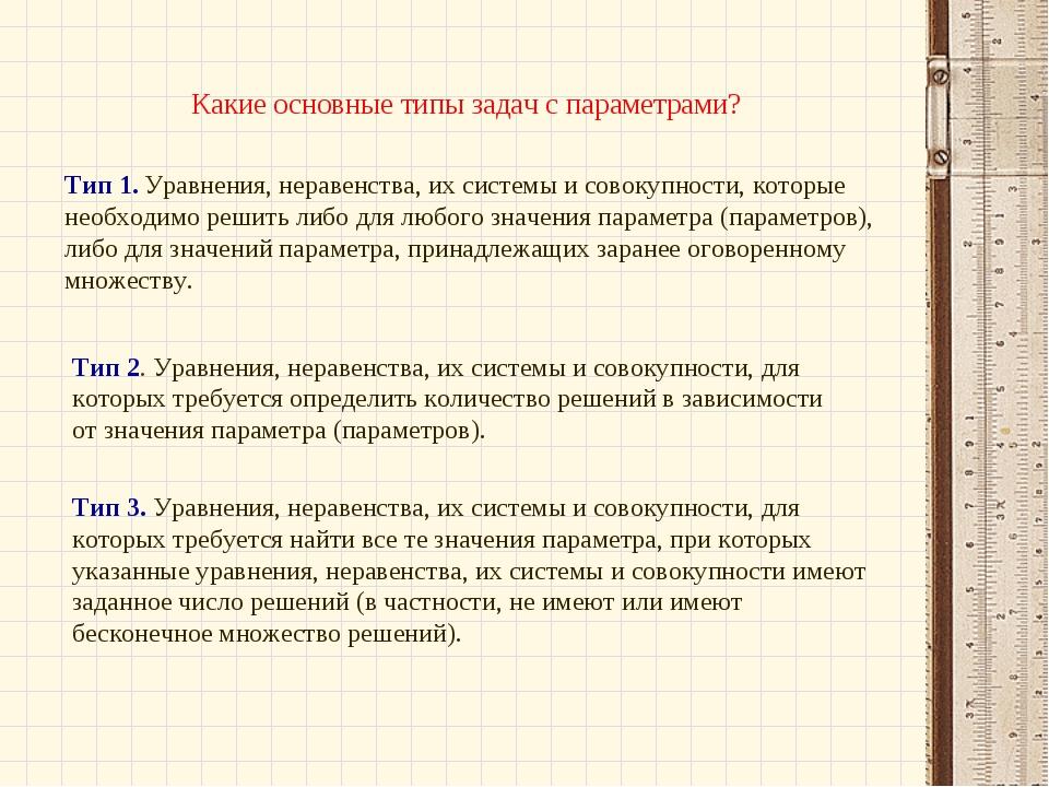 Какие основные типы задач с параметрами? Тип 1. Уравнения, неравенства, их с...
