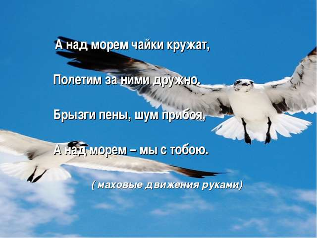 А над морем чайки кружат, Полетим за ними дружно. Брызги пены, шум прибоя, А...