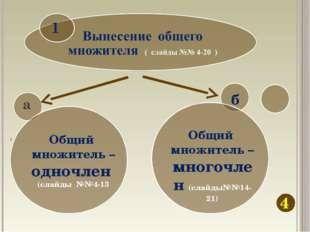 4 б Общий множитель – одночлен (слайды №№4-13 Общий множитель – многочлен (сл