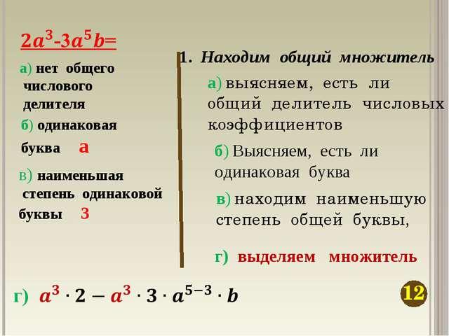 1. Находим общий множитель а) выясняем, есть ли общий делитель числовых коэфф...