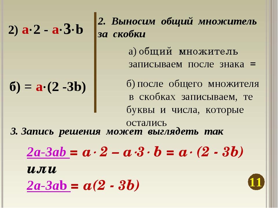 2. Выносим общий множитель за скобки 11 2) a2 - a3b а) общий множитель зап...