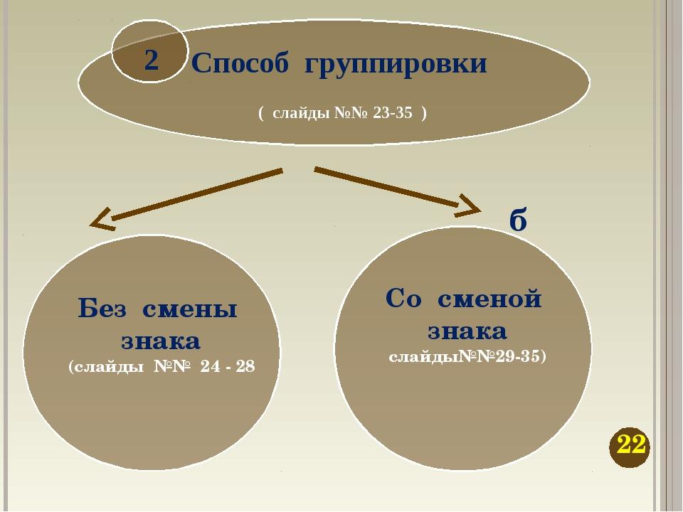 22 б Без смены знака (слайды №№ 24 - 28 Со сменой знака слайды№№29-35) 2