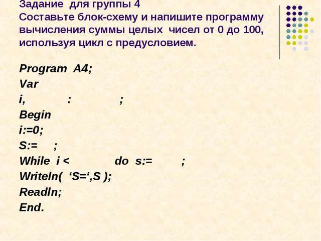 Задание для группы 4 Составьте блок-схему и напишите программу вычисления сум...