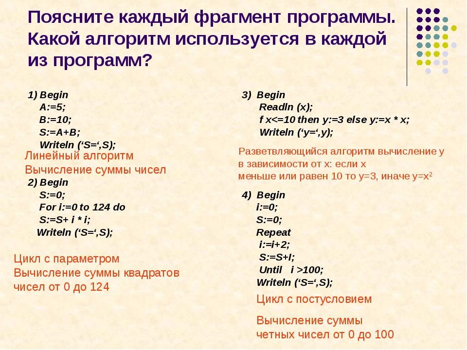 Поясните каждый фрагмент программы. Какой алгоритм используется в каждой из п...