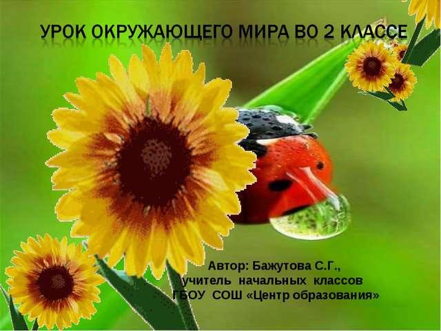 Автор: Бажутова С.Г., учитель начальных классов ГБОУ СОШ «Центр образования»