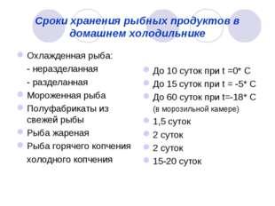 Сроки хранения рыбных продуктов в домашнем холодильнике Охлажденная рыба: -