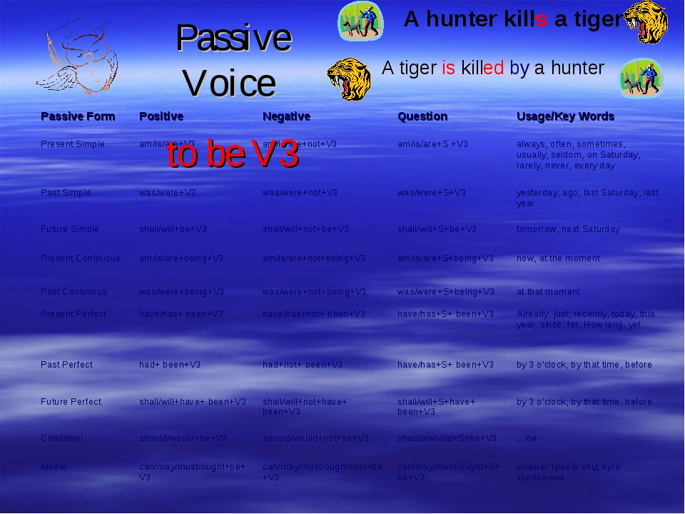 Passive Voice to be V3 A hunter kills a tiger A tiger is killed by a hunter
